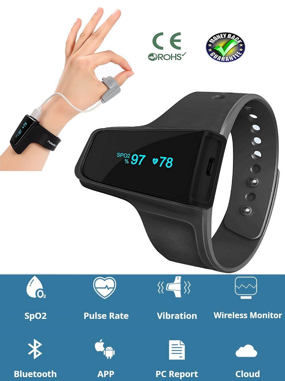 Sleep Monitor Anti Snoring Sleep Aid Watch Monitor Heart Rate SpO2 Pulse  Oximeter Alarm Wireless Bluetooth for Sleep Apnoea